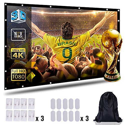 Projection Screen 100'' inch 16:9 Moive Screen HD Ready for Home Cinema Theater Presentation Education Outdoor Indoor Public Display Support Double Sided Projection with Bag by CableGeeker