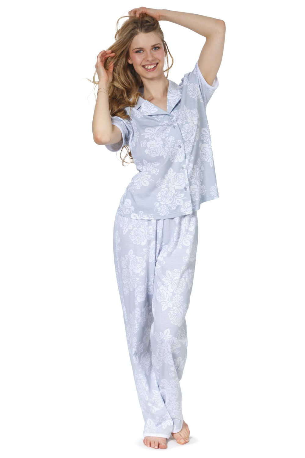 Cozy and Curious Women's Soft Cotton Tailored Pajamas (Set of 2) (Large, Hill Gray)