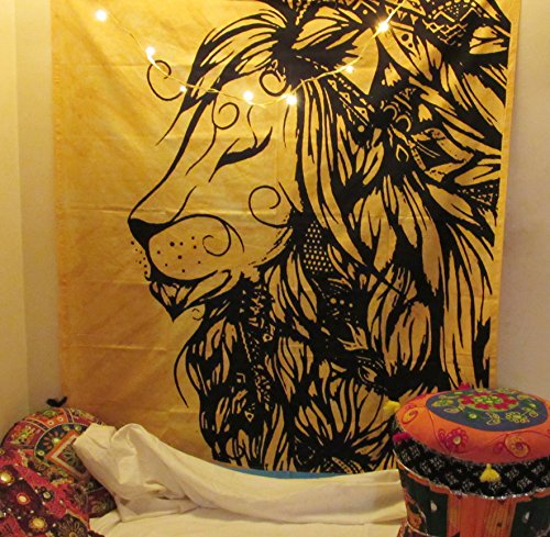 Solid Lion Tapestry Indian Handmade Tie Dye Wall Hanging Tapestries Great Room Decoration Art Beach Throw Special College Dorm Window Door Curtain Table Cloth Yoga Mat by The Indian Craft