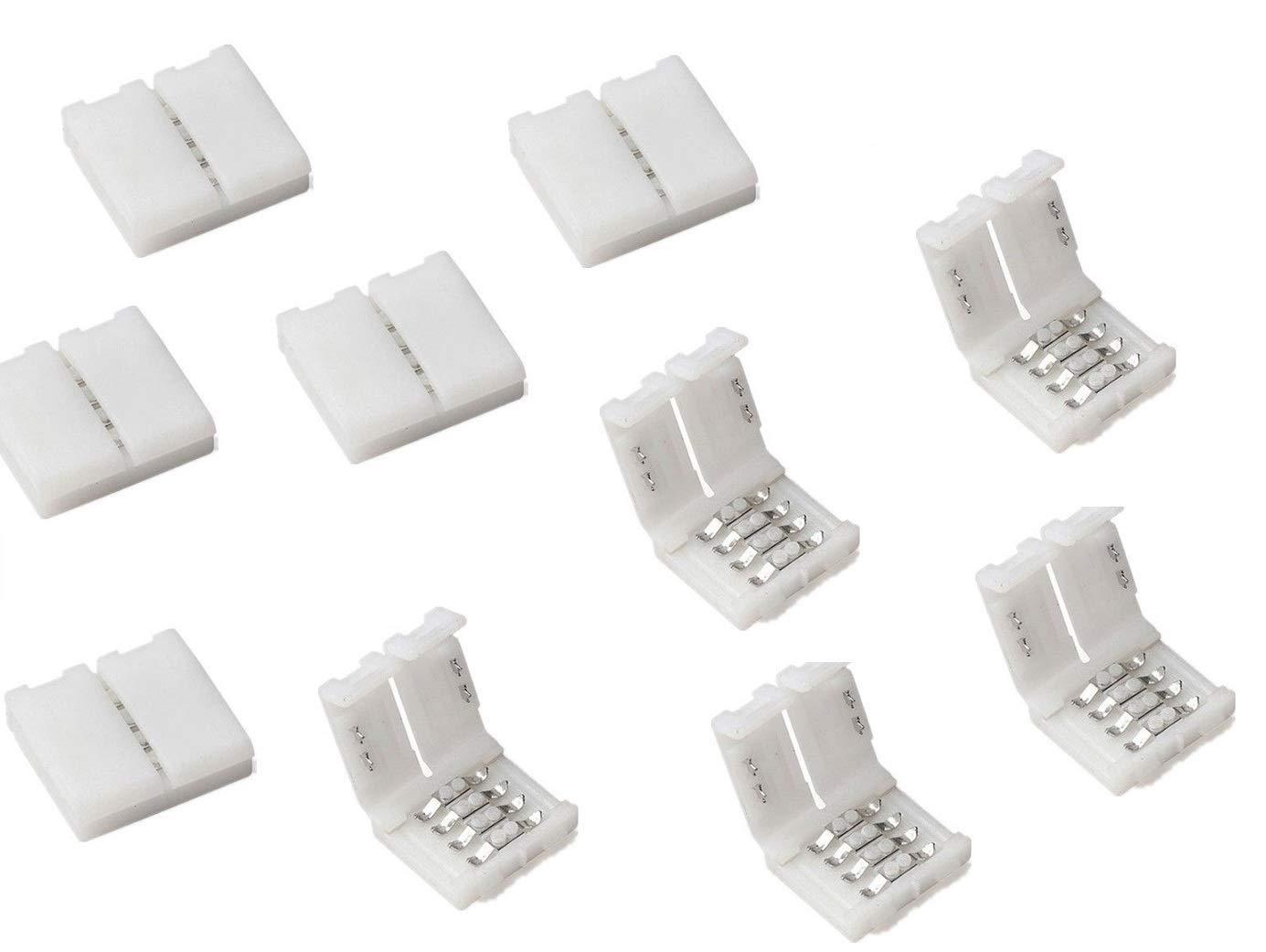 Cooligg 10x LED RGB Connecteur 4 Broches 10mm avec Clip, pour Bande Led Connecteur SMD 5050, Accessoires LED, Envoyer des factures de TVA par e-mail (connecteur rapide / 4pin) [Classe énergétique A++]