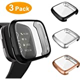 3 Pack Screen Protector Compatible Fitbit Versa 2 Case, GHIJKL Ultra-Thin Slim Soft TPU Protective Case All-Around Full Cover Bumper Shell for Fitbit Versa 2 Smart Watch, Black,Silver,Rose Gold