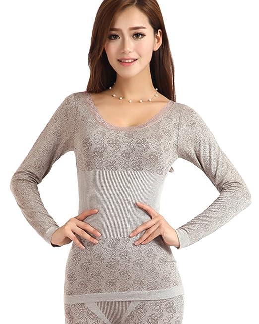 Conjunto De Ropa Interior Térmica De Elástico Top Y Pantalones para Mujer Café M