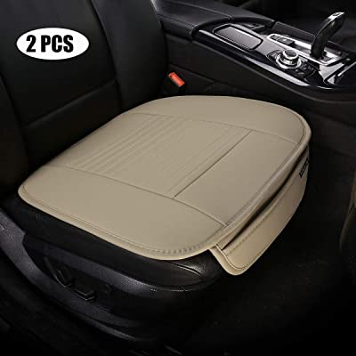 EDEALYN (19.7 inches deep × 20.87 wide) (2PCS) PU leather Car seat cover Car Accessories Car Seat Protector Seat Covers Universal Car, (Beige-N): Automotive