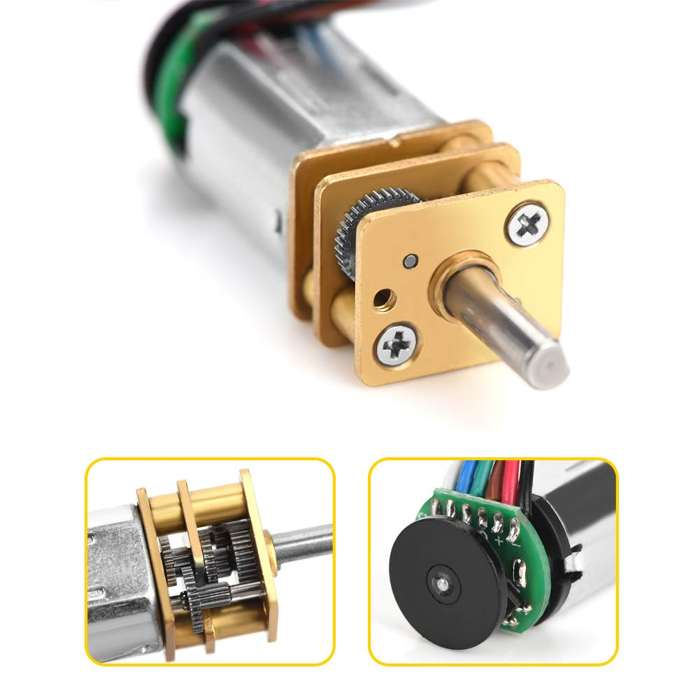 6V 30RPM Qinlorgo DC6V 2W GBMQ-GM12BY20 Gear Motor with Magnetic Coded Disc Hall Encoder