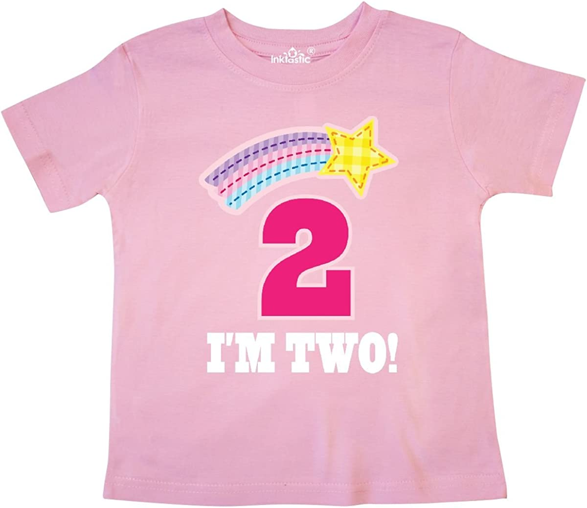 inktastic 2nd Birthday 2 Year Old Girls Rainbow Star Toddler T-Shirt