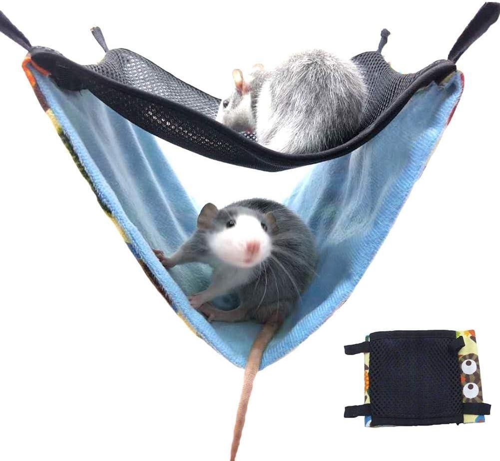 Kitabetty Hamaca pequeña para Mascotas de Doble Capa, Malla Transpirable Accesorios para Jaula de nidos para Mascotas Hamaca Colgante con Nido de Cama para hámster/Ardillas/cobayas