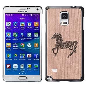 - / Unicorn Horse Abstract Floral Pattern - - Funda Delgada Cubierta Case Cover de Madera / FOR Samsung Galaxy Note 4 SM-N910 N910 / Jordan Colourful Shop/