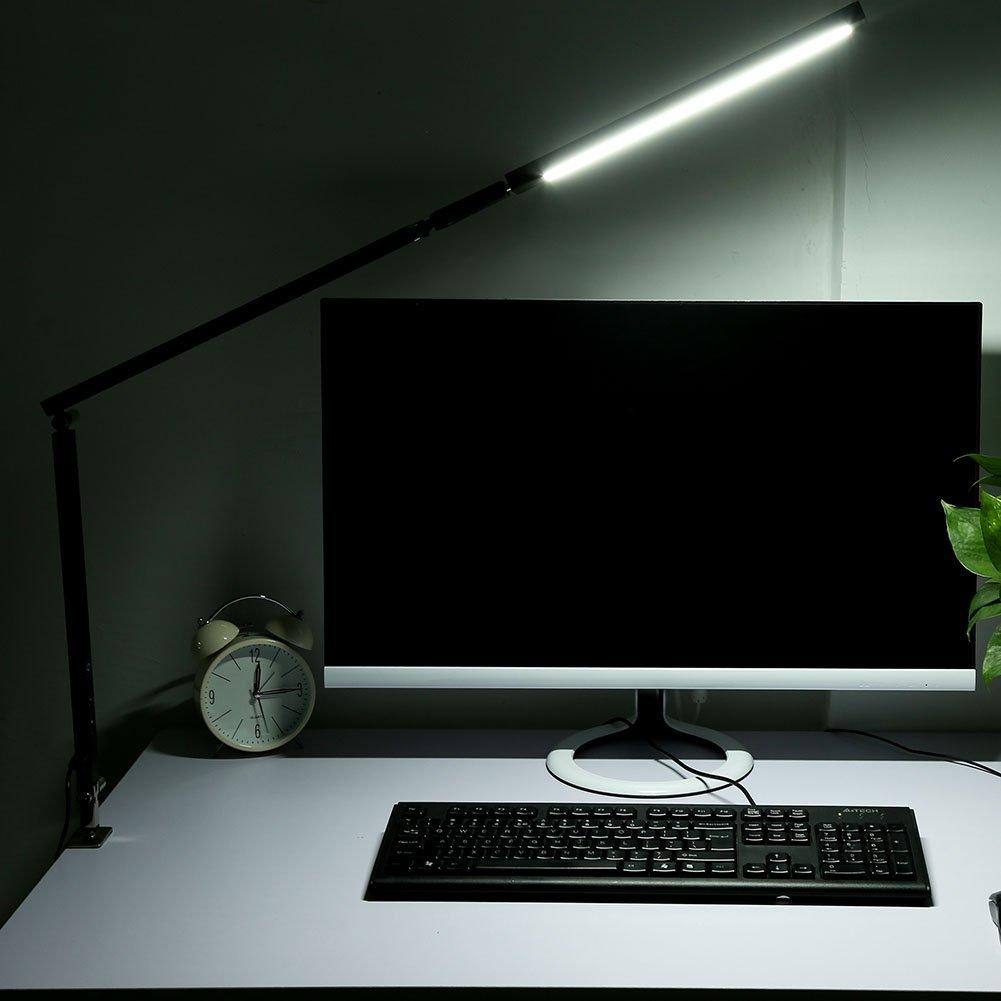 LED Schreibtischlampe Metall Tischleuchte Dimmbar Tageslichtlampe Tischlampe mit Langem Arm mit Fernbedienung