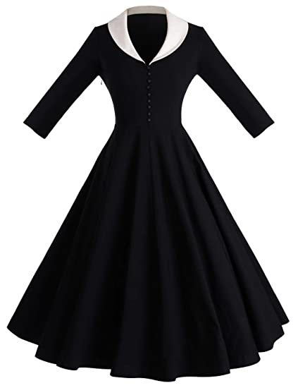 Sailor Dresses, Nautical Theme Dress, WW2 Dresses GownTown Womens 1950s Cape Collar Vintage Swing Stretchy Dresses $35.99 AT vintagedancer.com