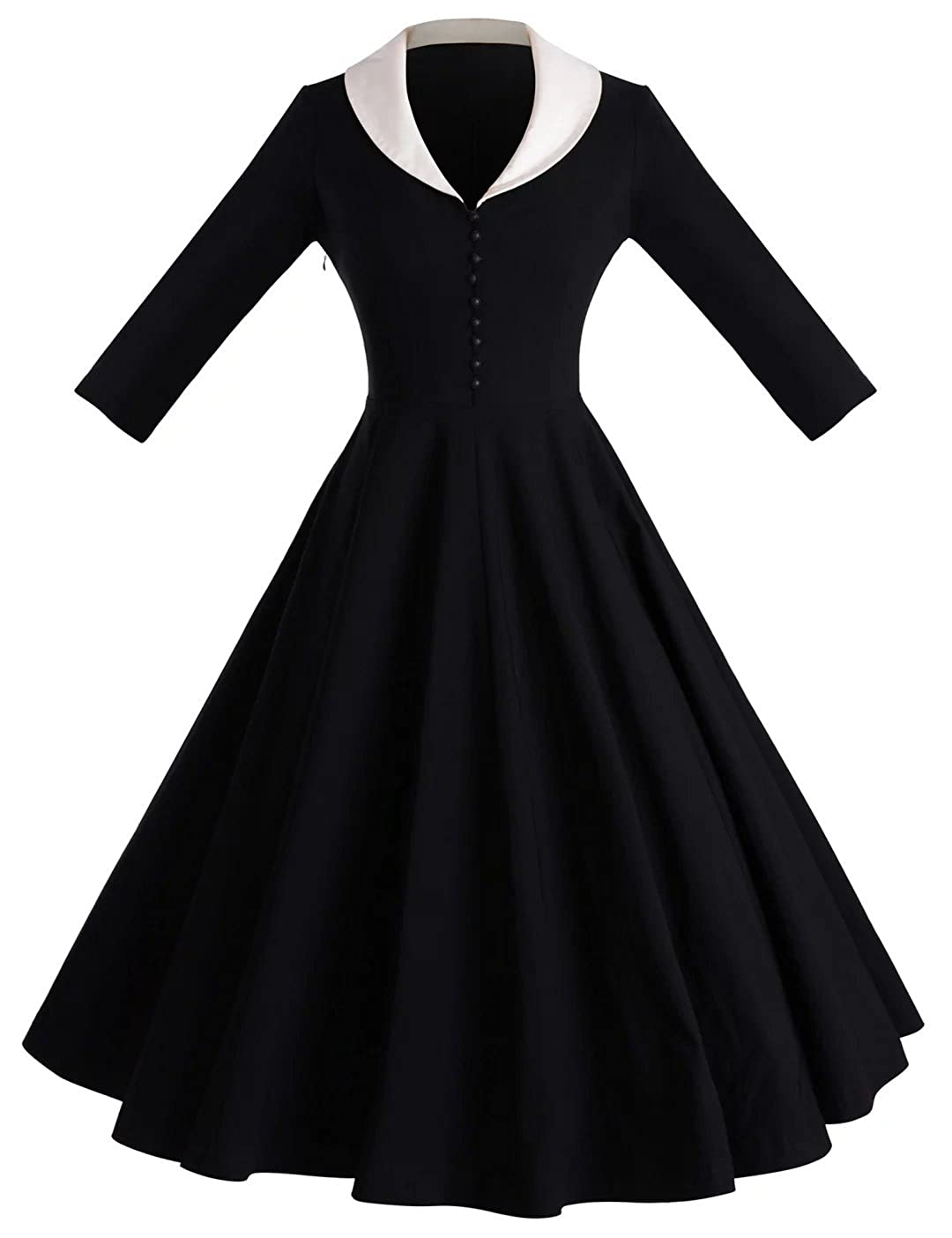 Rockabilly Dresses | Rockabilly Clothing | Viva Las Vegas GownTown Womens 1950s Cape Collar Vintage Swing Stretchy Dresses $35.99 AT vintagedancer.com