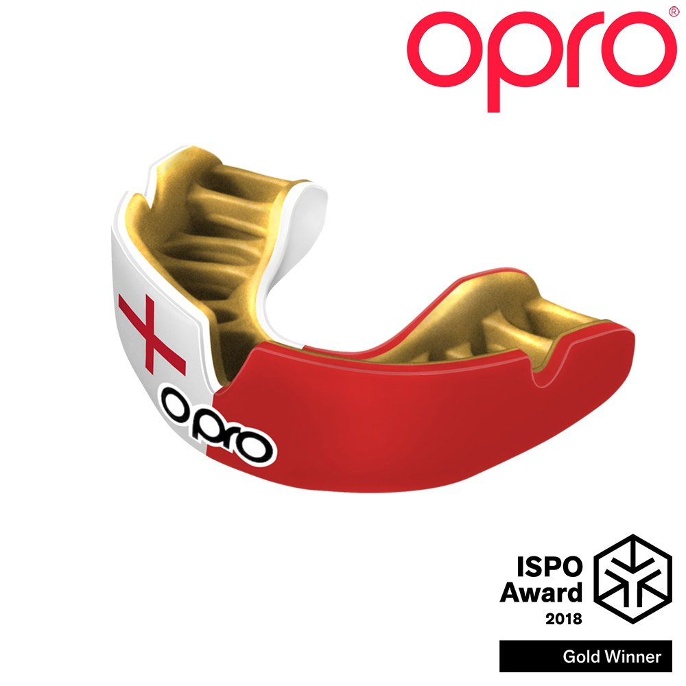 OPRO Power-Fit Countries Mouthguard | Adult Handmade Gum Shield for Football, Rugby, Hockey, Wrestling, and Other Combat and Contact Sports - 18 Month Dental Warranty (Ages 10+) (England)