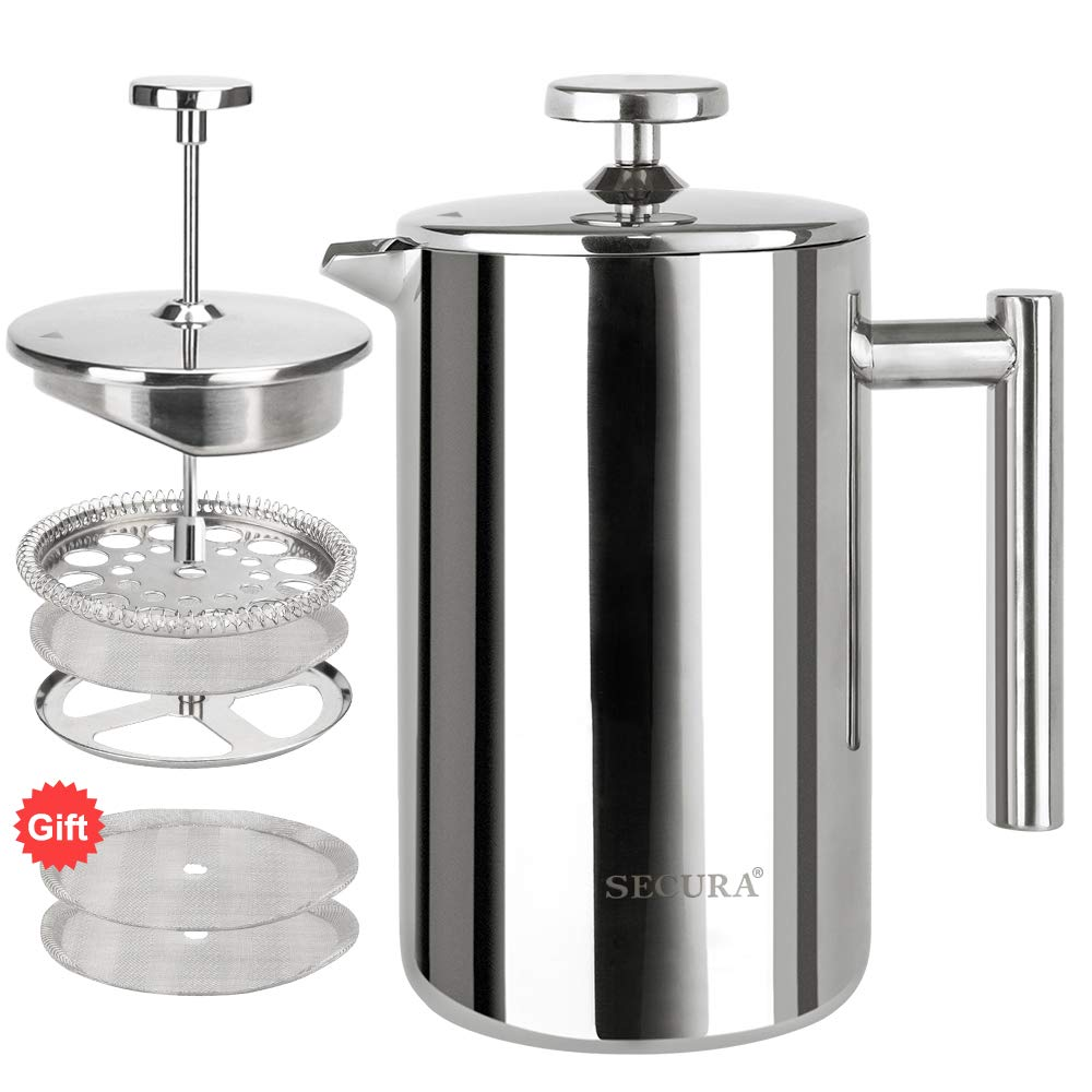 Secura SFP-17DS Stainless Steel French Press Coffee Maker 18/10 Bonus Stainless Steel Screen -17 fl. oz (500ML), Silver