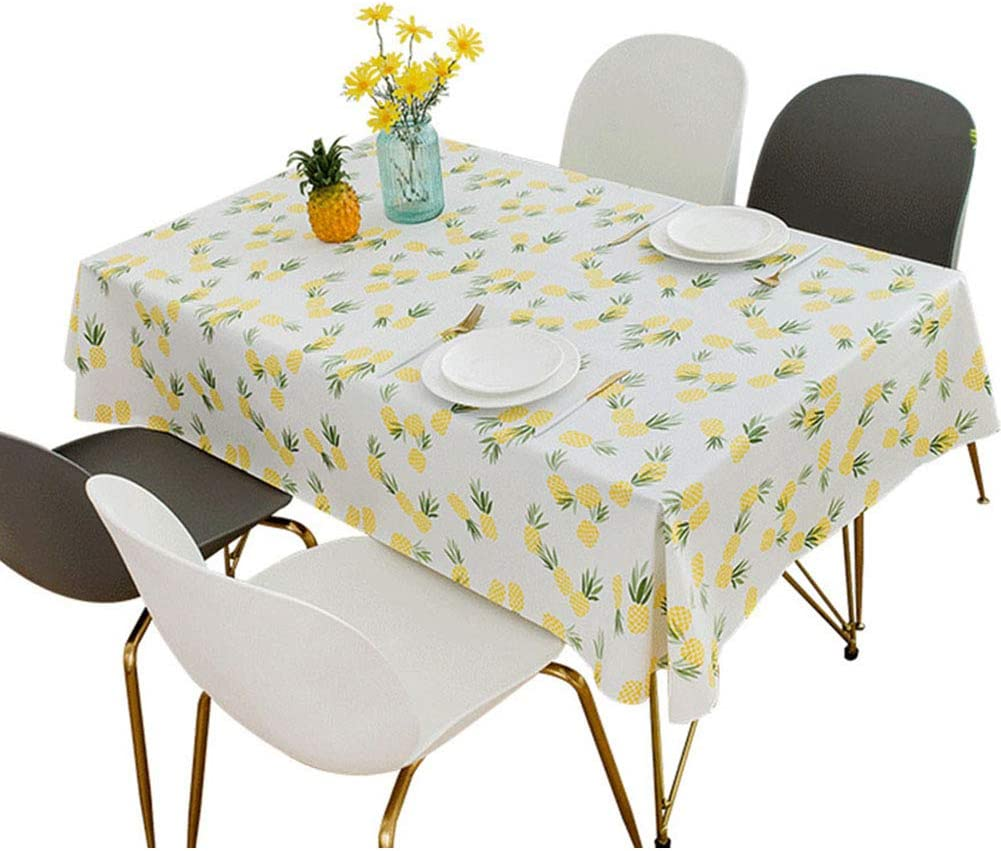 Amoda Yellow Plastic Pineapple Tablecloth Rectangle Oil-Proof Waterproof Folding Table 4 Foot Desk Protector Picnic Mat for Christmas Table Cloth Decoration Beach Towel (54