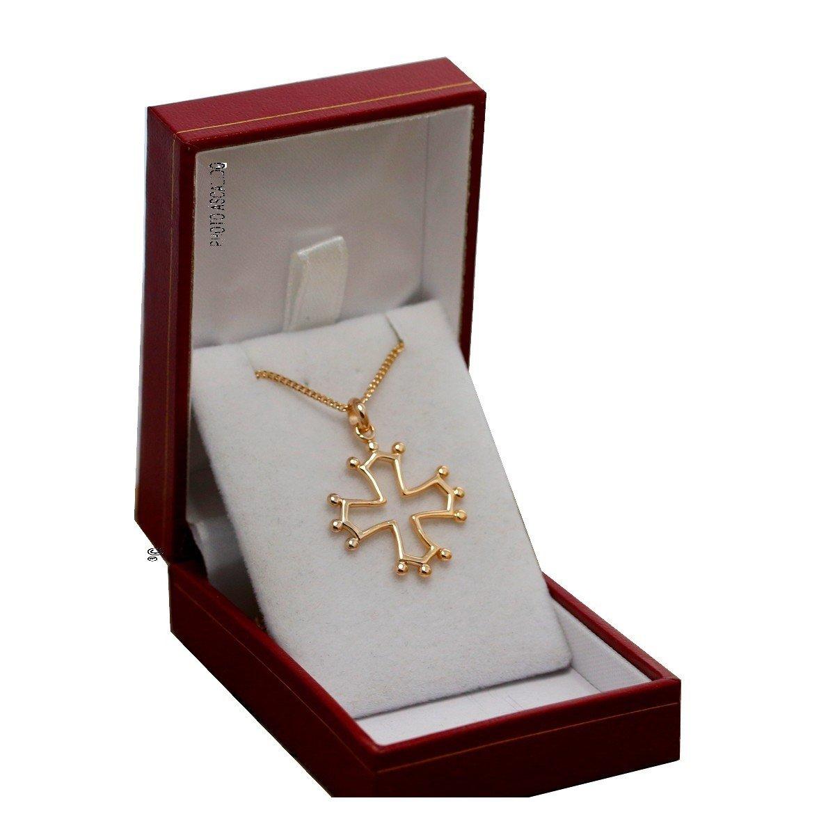 Ensemble collier et pendentif plaqué Or Croix occitane du Languedoc, Toulouse, provence et chaine en 50cm dans sa boite ASCALIDO asca248546
