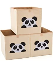 EZOWare Set of 3 Foldable Fabric Basket Bin, Collapsible Storage Cube for Nursery Home, Kids and Toddlers - (13 x 15 x 13 inch, Panda)