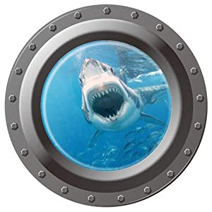 "Homefind 17"" x 17"" 3D Submarine Porthole View Of Ocean Undersea World Shark Fish Wall Stickers Peel & Stick Vinyl Murals Wall Decals Removable Kids Room Bedroom Nursery Wall Decoration"
