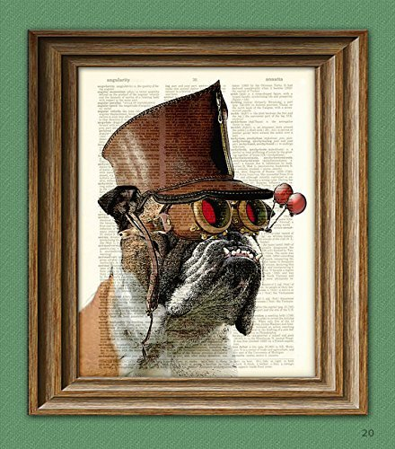 Bulldog Art Print Steampunk Dog