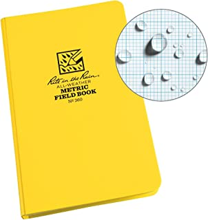"product image for Rite in the Rain All-Weather Hard Cover Notebook, 4 3/4"" x 7 1/2"", Yellow Cover, Metric Field Pattern (No. 360)"