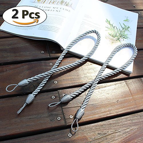 NICETOWN Ropes Tie Backs for Curtains - Pair of Thick Tiebacks for Patio Door & Porch Drapes, Used with Hook or Directly for Window Treament Panels by (Grey, 30