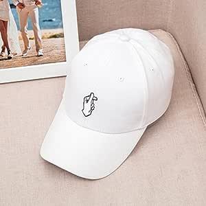 Adjustable Size Baseball Cap Retro Korea Love Finger Snap Hat Cap (White)