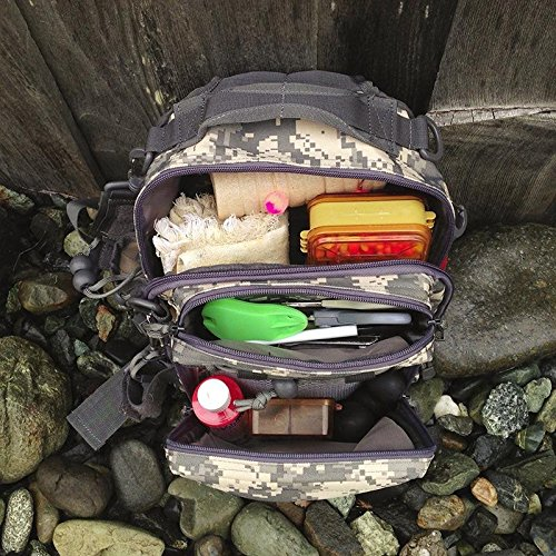 Piscifun Water-Resistant Outdoor Tackle Bag Single Shoulder Fishing Tackle Storage Bags Durable Handbag Crossbody Bag Multifunctional Bags for Camping Hiking Cycling Travelling Digital Camouflage