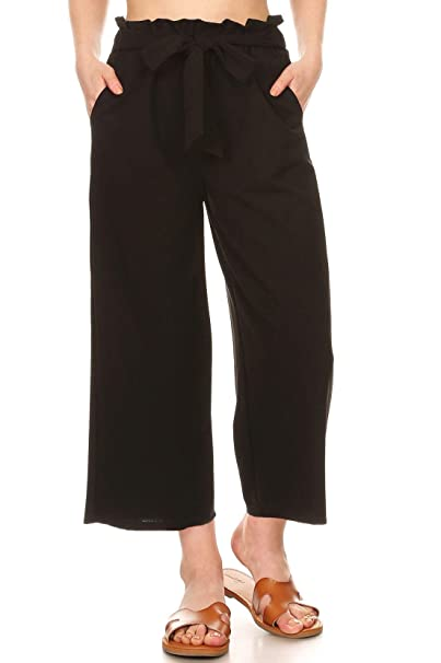 6063b5c4a1 ShoSho Womens Paper Bag Waist Cropped Pants Casual Wide Leg with Pockets  Solid Black Small