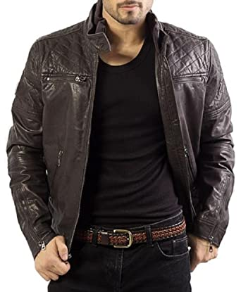 b57873353 The Leather Factory Men's Lambskin Brown Leather Bomber Jacket ...