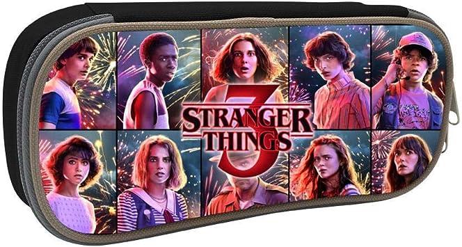2019 Stranger Things Season 3 Students Canvas Pencil Case Durable Pen Bag with Zipper: Amazon.es: Oficina y papelería