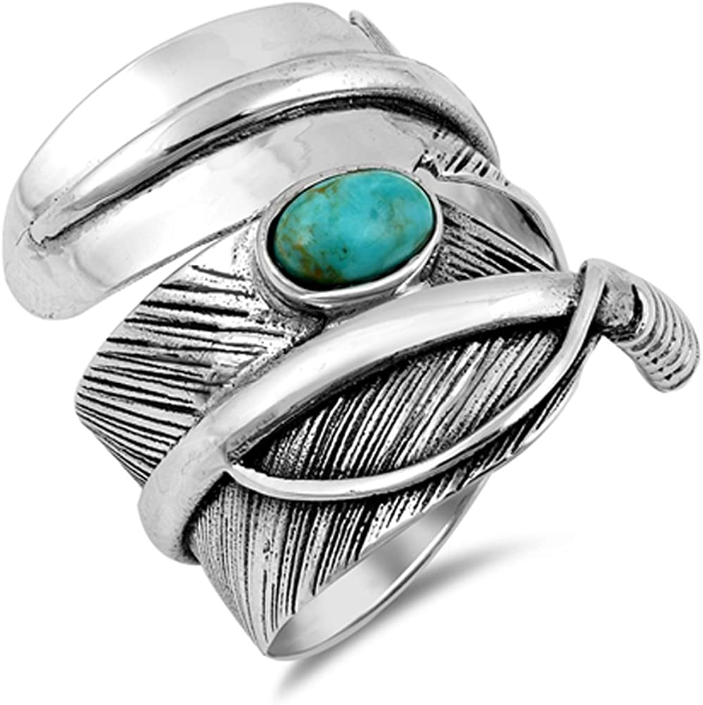 Simulated Turquoise Twisted Feather Boho Wide Nature Ring Sterling Silver Band Sizes 7-13