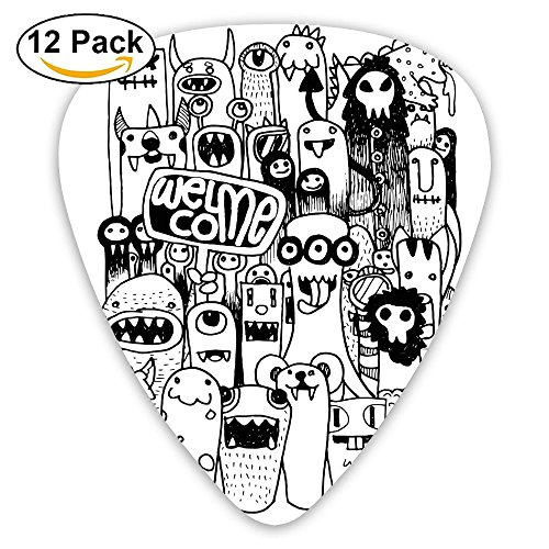 - Newfood Ss Hand Drawn Doodle Style Cartoon Figures Monsters Welcoming Community Funny Crazy Guitar Picks 12/Pack Set