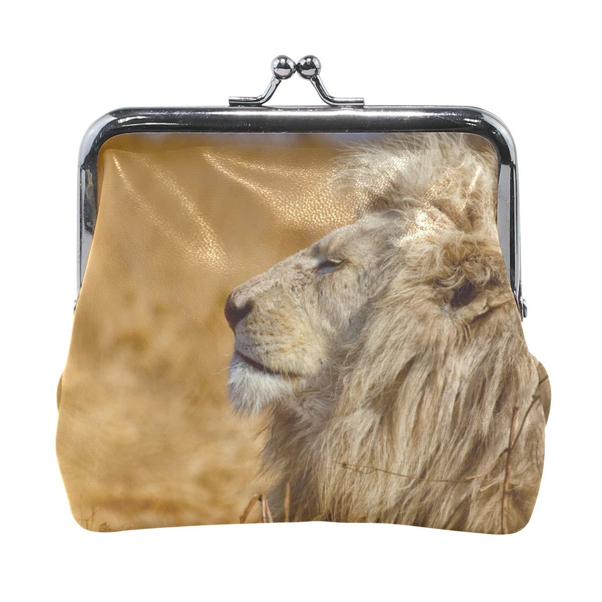 Rh Studio Coin Purse Lion Profile Predator King Of Beasts Print Wallet Exquisite Clasp Coin Purse Girls Women Clutch Handbag
