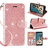 Casekey Compatible with Google Pixel 3 Wallet Case, [Kickstand] [Card Slots] [Wrist Strap] 2 in 1 Glitter Magnetic Flip PU Leather Full Coverage Wallet Cover for Google Pixel 3,Rosegold