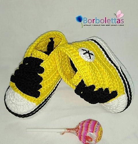 Patucos para Bebé Recién Nacido tipo Converse, 0-3 meses Amarillo ...
