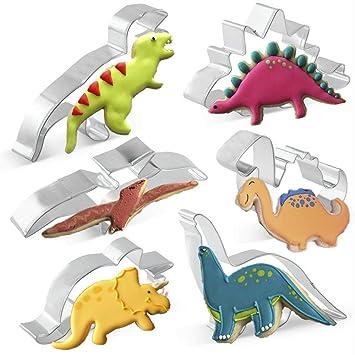 KAISHANE Set de cortadores de Dinosaurio para niños 6 Piezas de Acero Inoxidable Molde de Galletas para Hornear pastelería Decoración de Torta: Amazon.es: ...