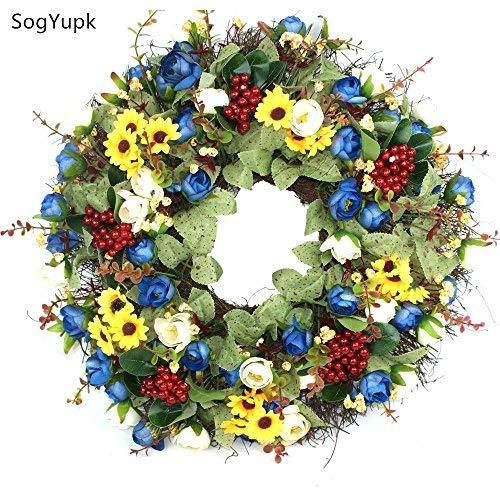 SogYupk Decorative Seasonal Front Door Wreath Handcrafted Wreath 15 inches by SogYupk