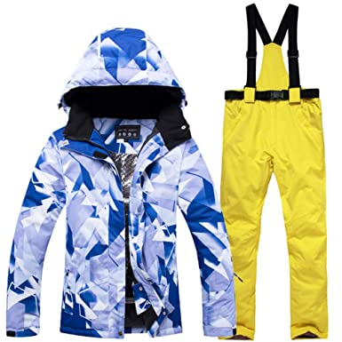 Mens Snow Suit Outdoor Sports wear Snowboarding Sets Waterproof Windproof Breathable Ski Jacket and Belt Snow Pant,Picture Pant,S