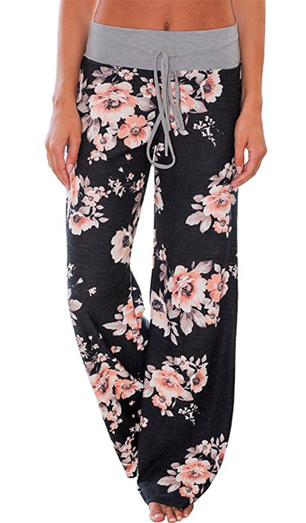 Ulily Women's Floral Drawstring High Waist Palazzo Wide Leg Pants Black0486 S