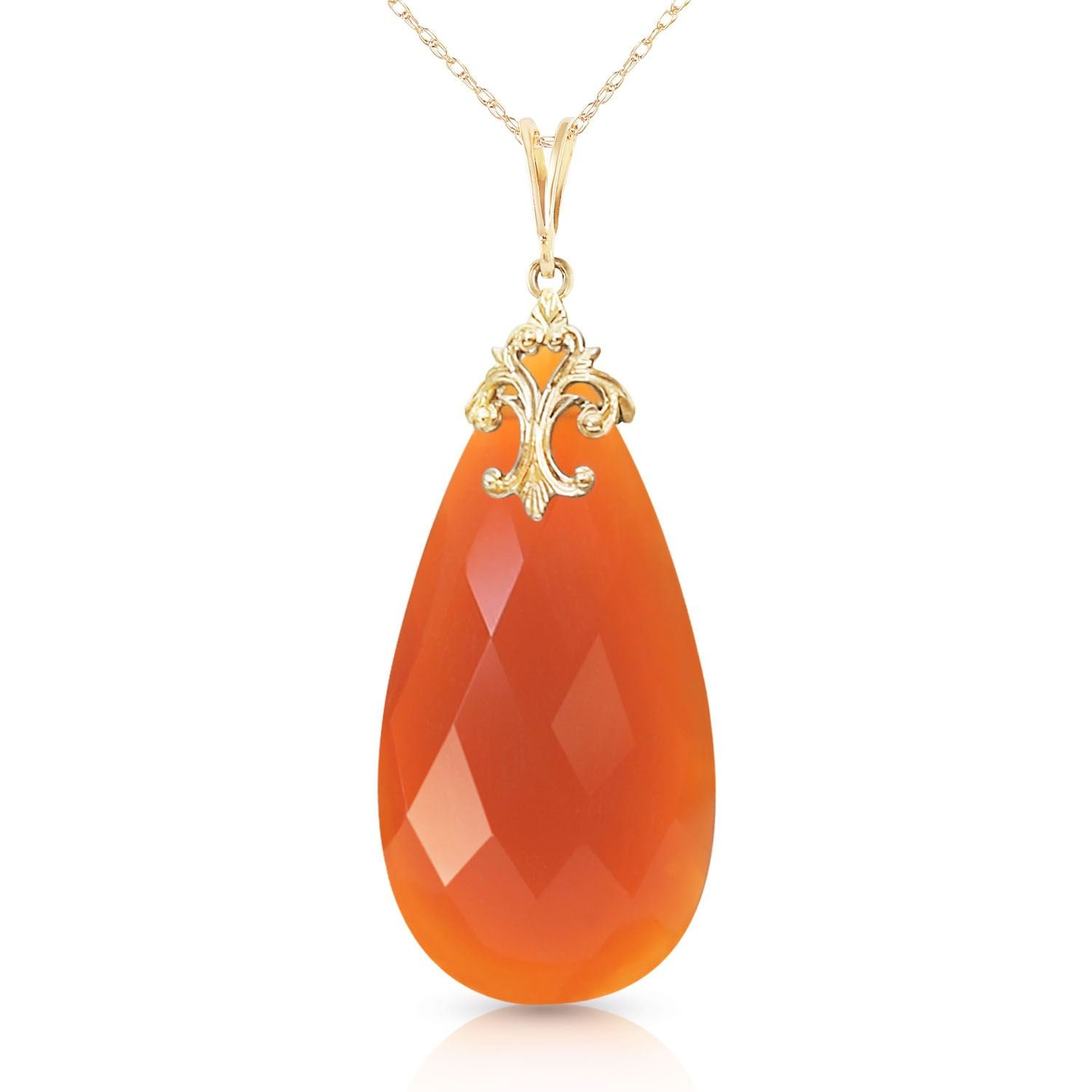 ALARRI 14K Solid Gold Necklace with Briolette 31x16 mm Reddish Orange Chalcedony with 22 Inch Chain Length