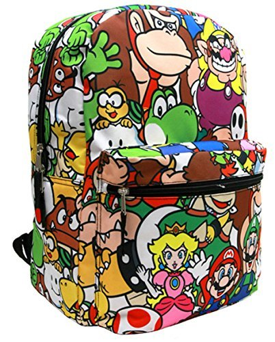 "Backpack - Nintendo - Super Mario All-Over Group 16"" School Bag NN35520"