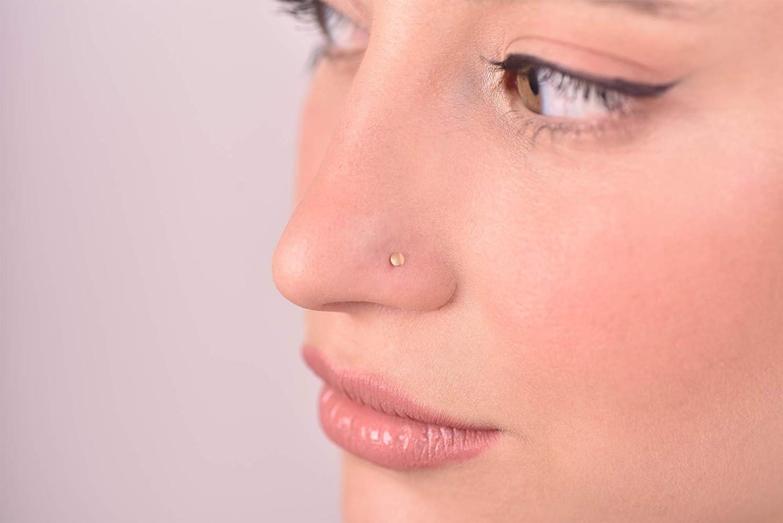 Amazon Com Nose Stud 14k Solid Gold Tiny Flat Dot Nose Studs 20