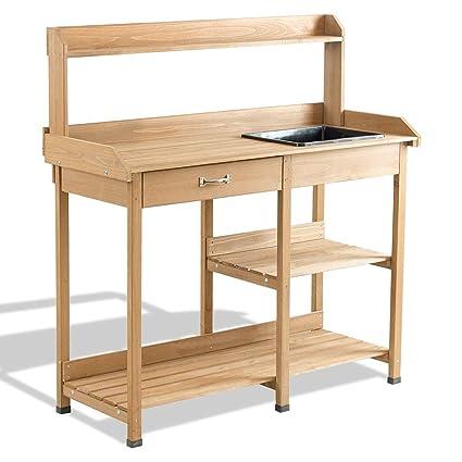 Amazon.com: LordBee Mesa de jardín de madera para macetas ...