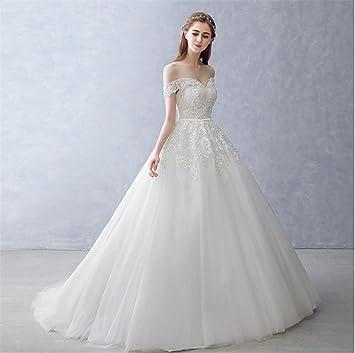LUCKY-U Vestidos de novia Vestido de novia Hombro apagado Cordón Vestido largo Vestido de