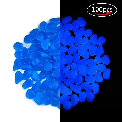Ankuka Brilla en la Oscuridad Pebbles Luminoso Grava Piedras 100 pcs, al Aire Libre Piedra