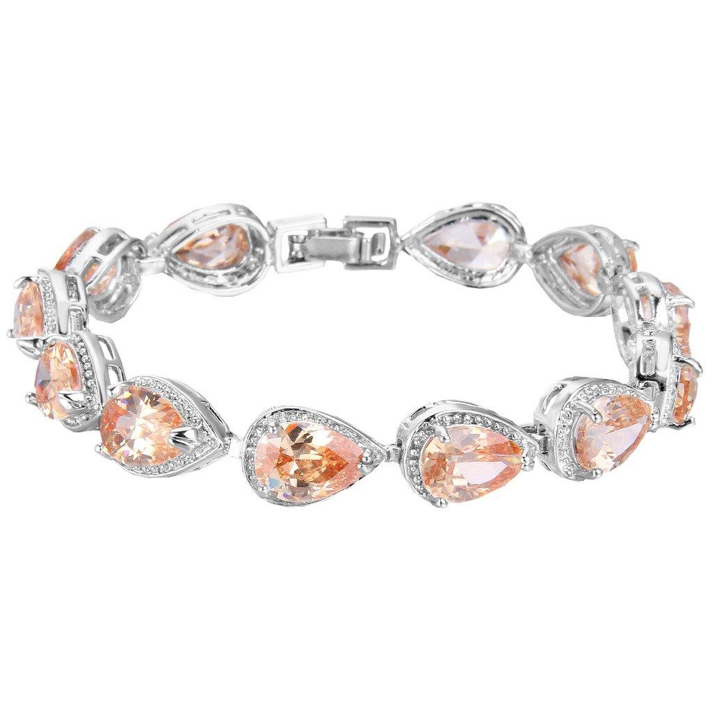 EVER FAITH Women's Prong CZ November Birthstone Teardrop Tennis Bracelet Topaz Color Silver-Tone