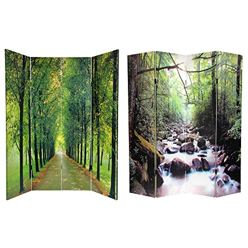Oriental Furniture 6 ft. Tall Double Sided Path of Life Canvas Room Divider ()