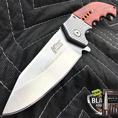 9″ M-TECH STEAM PUNK SPRING ASSISTED OPEN Tactical Pocket Folding Knife Wood + Free eBook by SURVIVAL STEEL