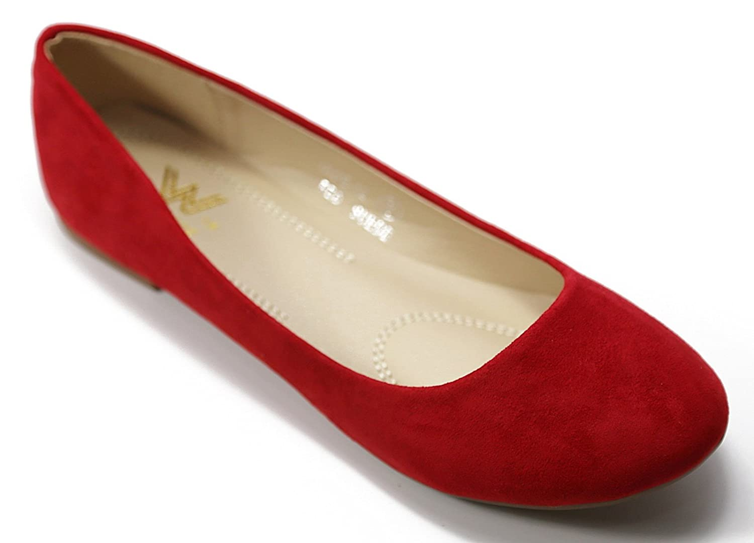 Walstar Women's Basic Round Toe Ballet Flat Shoes B015YJ6DUM 6 B (Run Small, Order 1/2 size UP)|Red Suede