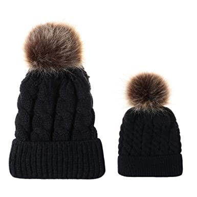 5df7fcd1 Warm Winter Beanie Cap Knitted Cozy Warm Winter Snowboarding Ski Hat with Pompom  Hat Ribbed Knit