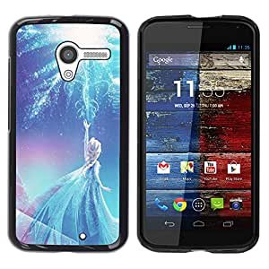 YOYOYO Smartphone Protección Defender Duro Negro Funda Imagen Diseño Carcasa Tapa Case Skin Cover Para Motorola Moto X 1 1st GEN I XT1058 XT1053 XT1052 XT1056 XT1060 XT1055 - princesa hada azul de invierno los niños de