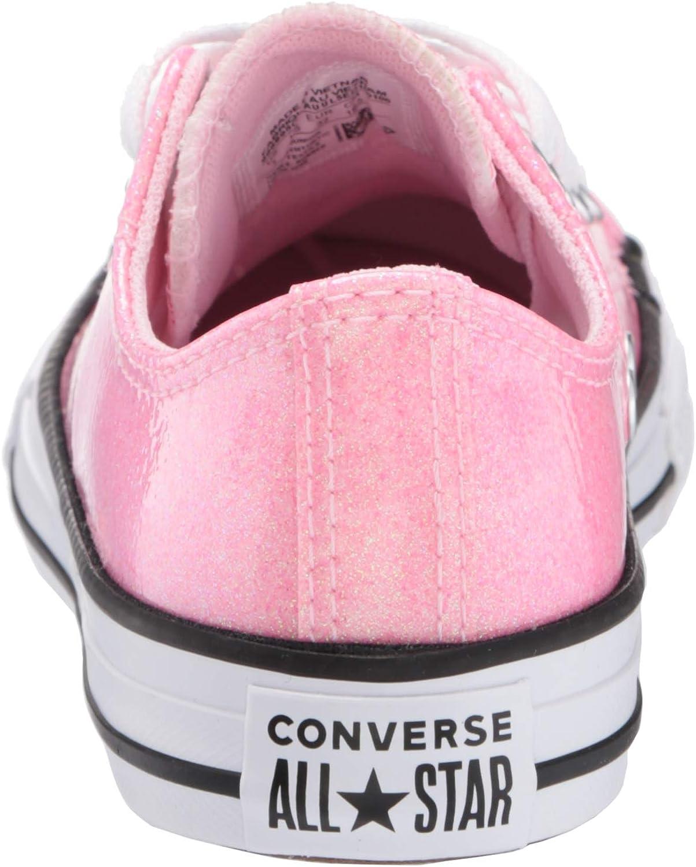 Converse Chuck Taylor All Star Ox Coated Glitter Fiore Di Ciliegio/nero/bianca Sintetico Gioventù Formatori Scarpe Rosa